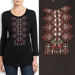Lucky Brand Diamond Embroidered Black Top